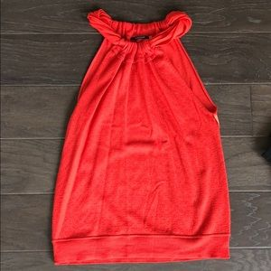 Red high-neck halter top. Sleeveless blouse